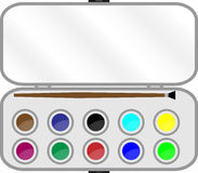Set of paints with brush in box. Watercolor and education, palette and paintbrush, colorful equipment, art tool craft. Vector graphic illustration vector illustration
