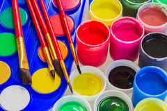 Set of paints and brushes Royalty Free Stock Images