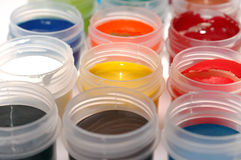 Set of paints gouache. In jars Stock Photography