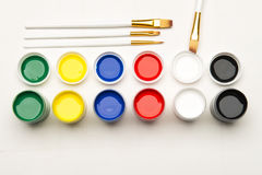 Set of paints on a white background Stock Photo