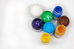 Paints. Set of paints on a white surface royalty free stock image