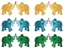 6 Set of Pair of golden blue green colour elephant calf baby cartoon vector illustration with red and pink hearts against white ba stock illustration