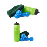 Set of Pair Plastic coated dumbells isolated over the white background Stock Image