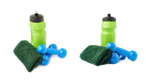 Set of Pair Plastic coated dumbells isolated over the white background Stock Photos