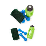 Set of Pair Plastic coated dumbells isolated over the white background Stock Photography