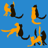 A set of pairs of cats royalty free illustration