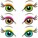 Set of pairs of eyes. vector Stock Images