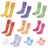 Set of pairs of funny socks. Set of pairs of funny colorful socks Stock Photo