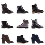 A set of 9 pairs of women`s shoes Royalty Free Stock Photos