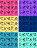 Set of paisley backgrounds. Set of paisley designs on the yellow, pink, blue, green and purple backgrounds Stock Photo
