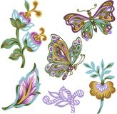 Set of paisley eastern elements Abstract flowers and leaves and Butterfly colorful Bouquet on white background vector illustration