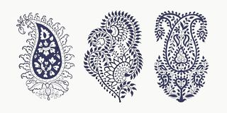 Set of paisley elements. Set of 3 paisley elements. Traditional oriental ethnic ornament of India, 2 colors. For your design stock illustration