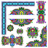 Set of paisley floral design elements for page Royalty Free Stock Images