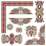 Set of paisley floral design elements for page Stock Photos