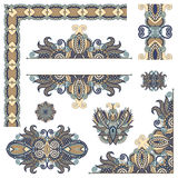 Set of paisley floral design elements for page. Decoration, frame, corner, divider, circle snowflake, stripe pattern, vector illustration Royalty Free Stock Photo