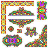 Set of paisley floral design elements for page. Decoration, frame, corner, divider, circle snowflake, stripe pattern, vector illustration Stock Images