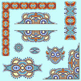 Set of paisley floral design elements for page Stock Images