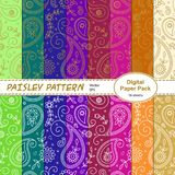 Set of paisley pattern digital papers royalty free illustration