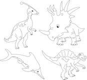 Set of palaeosaurus, styracosaurus, spinosaurus and ichthyosaur. Royalty Free Stock Photos