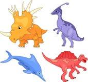 Set of palaeosaurus, styracosaurus, spinosaurus and ichthyosaur Royalty Free Stock Photos