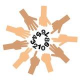 Set palce pokazuje liczbę jeden, zero ilustracji