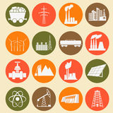 Set 16 paliwowe i energetyczne ikony Fotografia Royalty Free
