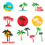 Set of palm island labels and emblems Royalty Free Stock Photo