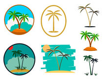 Set of palm tree illustrations Stock Photo