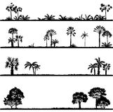 Set of palm tree silhouettes Royalty Free Stock Images