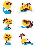 Set - palm trees Stock Image