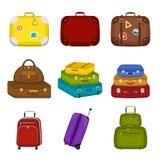 Set palowa podróż zdojest walizki z majcherami na odosobnionym białym tle Lato podróży rękojeści bagażu Podróżny bagaż Obraz Royalty Free