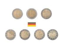 Set Pamiątkowa 2 euro monety Niemcy obraz royalty free