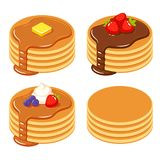 Set of different pancakes. Set of pancakes with different toppings: honey and butter, chocolate syrup and fruit, and a stack of plain isolated pancakes Royalty Free Stock Photos