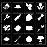 Set of Pancakes, Fig, Jelly, Hamburguer, Octopus, Hazelnut, Glas. Set Of 16 icons such as Pancakes, Fig, Fork, Jelly, Spatula, Asparagus, Glass, Octopus Royalty Free Illustration