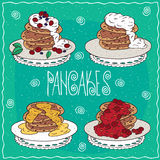 Set of pancakes in handmade cartoon style Royalty Free Stock Images