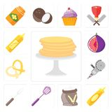 Set of Pancakes, Mustard, Flour, Spatula, Fork, Grinder, Pretzel. Set Of 13 simple editable icons such as Pancakes, Mustard, Flour, Spatula, Fork, Grinder stock illustration