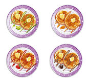 Set of pancakes with sauces-EPS10. Set of pancakes with sauces Stock Image