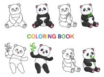 Set of pandas with bamboo for coloring book. Isolated on white background.Line art design.Vector illustration Stock Photos