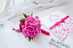 Set panna młoda karciany ścinek zawiera kartoteki maski rocznika ślub Fotografia Stock