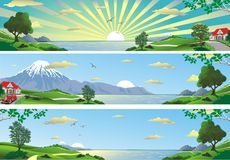 A set of panoramic landscapes. Royalty Free Stock Photos