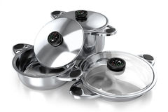 Set of pans for the kitchen and cooking 3d Stock Photo