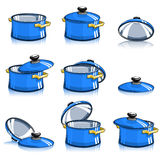 Set of pans with lid Stock Photography