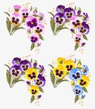 Set of pansy bouquets Royalty Free Stock Photo