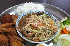 Set of Papaya salad, Thai spicy food Stock Image