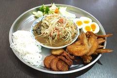 Set of Papaya salad, Thai spicy food Royalty Free Stock Photo