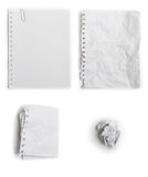 Set of paper. Set of four different state of paper - flat, wrinkled, folded, crumpled Royalty Free Stock Photo