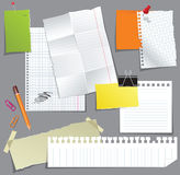 Set of paper. Collection of note paper over gray background royalty free illustration
