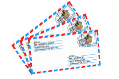 Set of paper airmail letters Stock Images