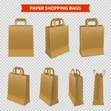 Set Of Paper Bags For Shopping. Realistic set of shopping bags made from brown paper isolated on transparent background vector illustration stock illustration