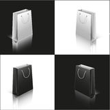 Set of paper bags white and black Stock Photo